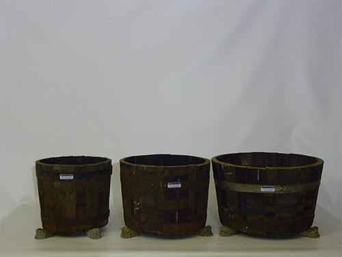 Set van drie eiken kuipen